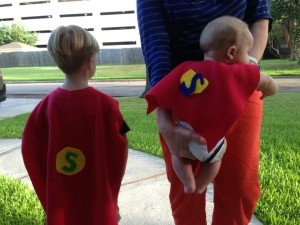 Here are the boys, dressed as the Supperheroes, their team for the FARE walk for Food Allergy.